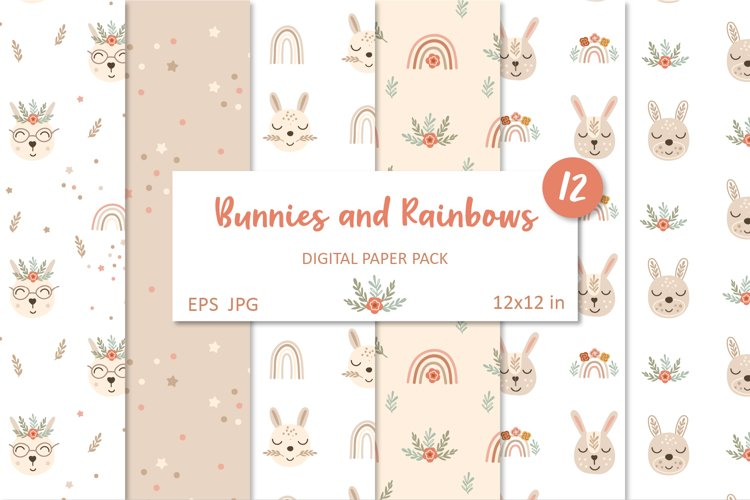 Cute Bunnies and Floral Rainbows. Boho Seamless Patterns