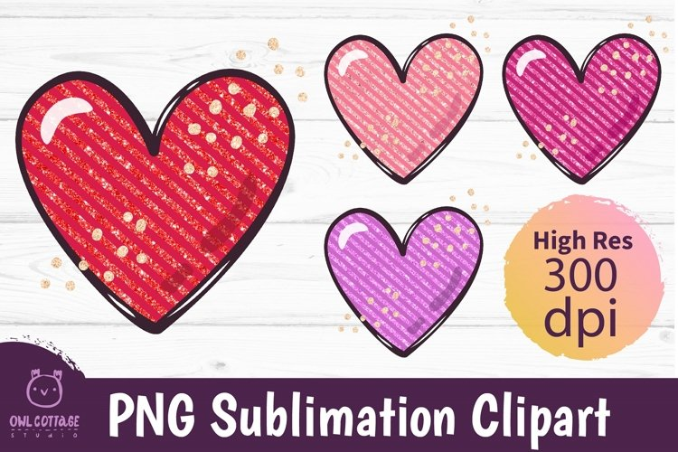 Pink, Red and Violet Glitter Hearts Sublimations mini Bundle
