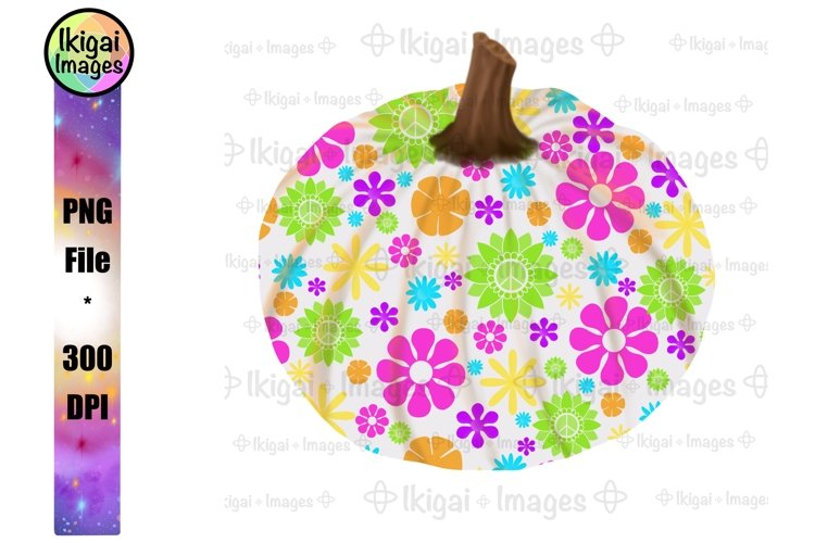 Flower Power Pumpkin PNG, Fall Sublimation, Hippie Clipart example image 1