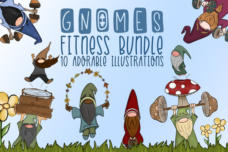 Fitness Gnome Bundle Gnome Clipart Fitness Illustrations PNG