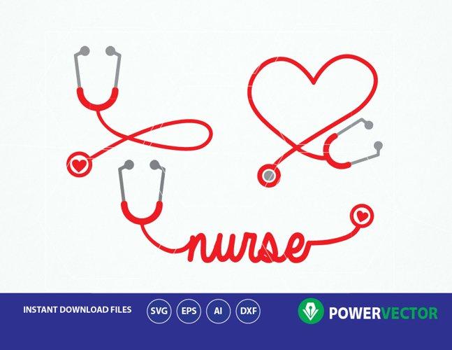 Stethoscope SVG, Nurse Word Art Svg. Nurse Heart Monogram Frame, Stethoscope Heart Clipart Vector