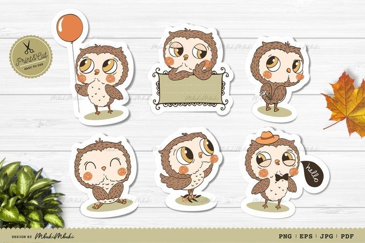 Funny Owl Cartoon Printable Stickers Cricut Design