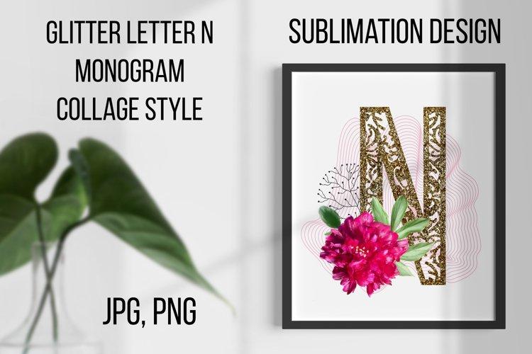 Gold lase letter N, Monogram collage, Sublimation design example image 1