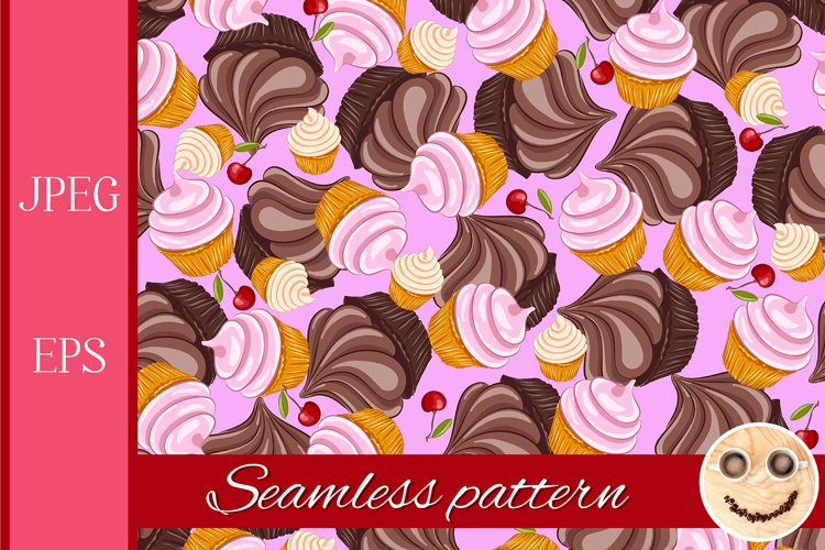 Cupcake and cherry vector seamless pattern.