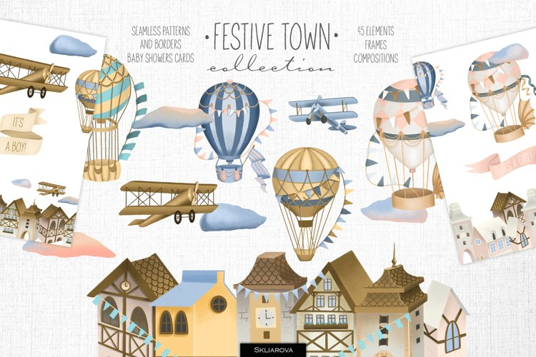 Festive town collection.
