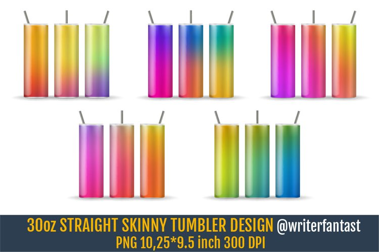 30oz STRAIGHT Skinny Tumbler Sublimation, Rainbow template example image 1