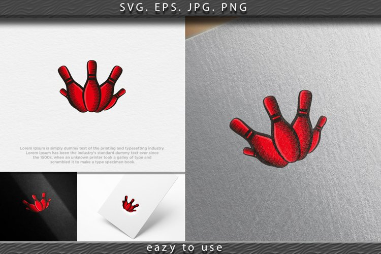hand drawn bowling pin logo Designs Inspiration Isolated on example image 1