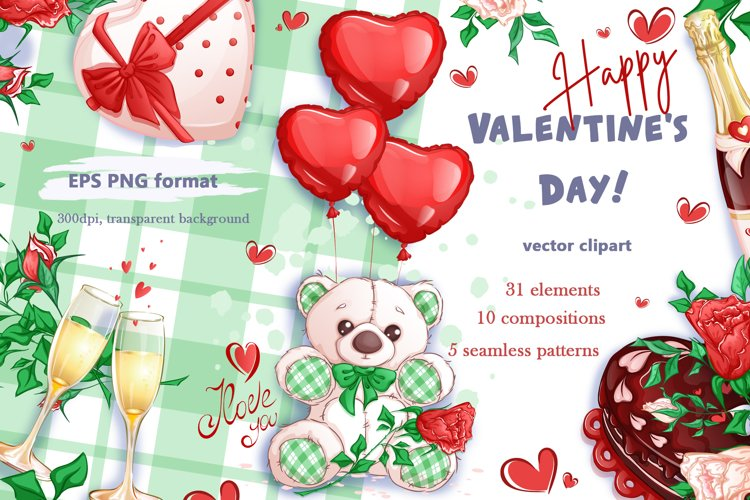 Valentine's Day. Vector clipart. Elements. example image 1