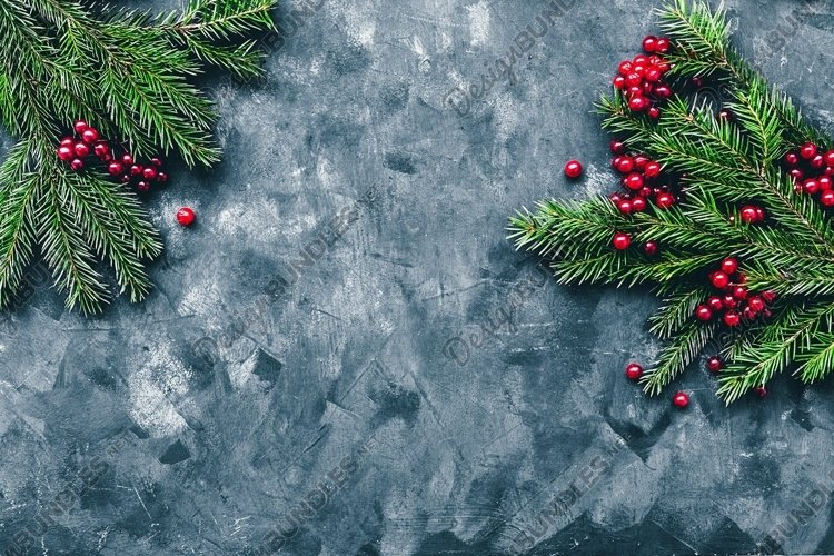 Christmas and New Year background with winter berries example image 1