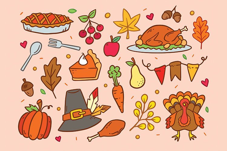 Thanksgiving Hand drawn Vector Set, Printable and Editable
