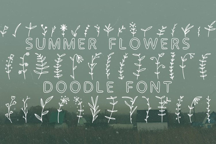 Summer flowers doodle font in ttf, otf example image 1
