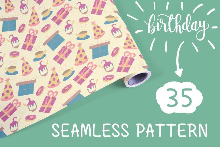 Happy Birthday seamless patterns set. Vol 2