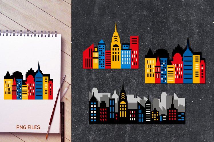 Superhero city skyline buildings illustrations