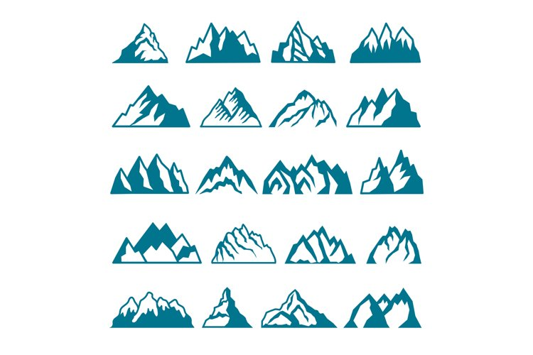 Monochrome pictures set of different mountains. Vector colle example image 1