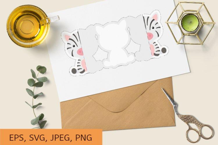 Invitation Zebra Card Template, Birthday Fold Long Card example image 1