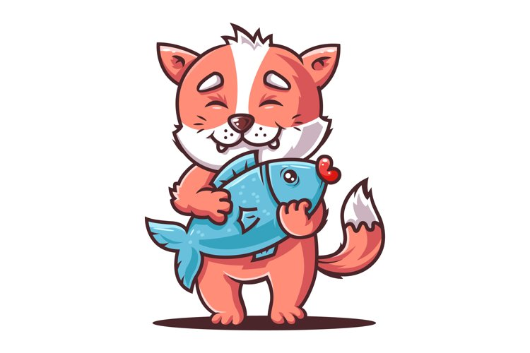 hungry cat is holding a big fish. fox angler. flat vector example image 1
