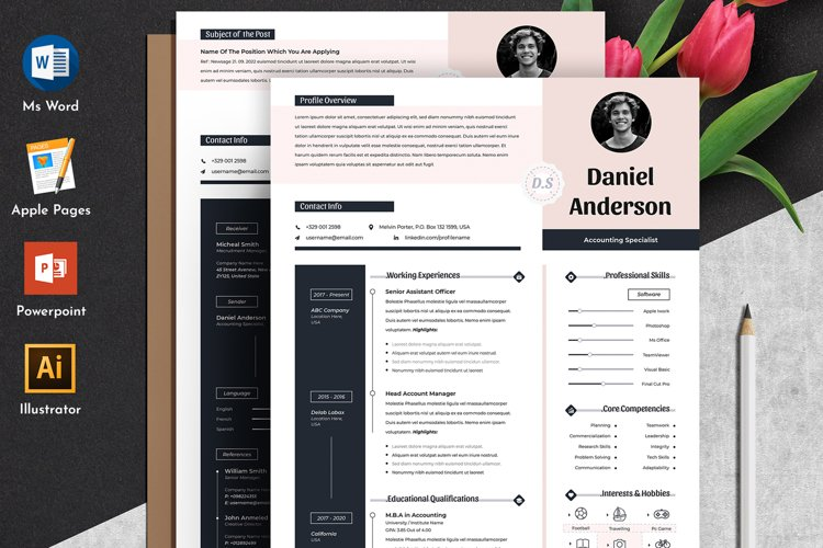 Modern Editable Resume Cv Template in Word Apple Pages example image 1