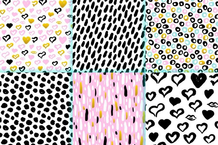 Brush Strokes Trendy Seamless Patterns example 1