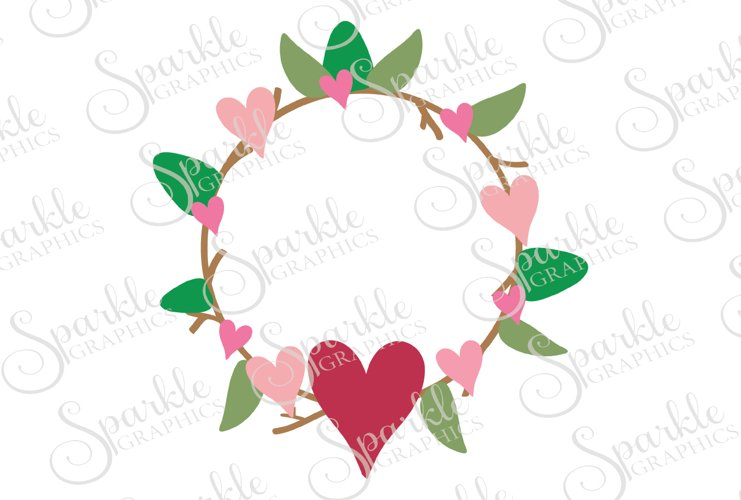 Valentine Wreath Cut File  | SVG, EPS, DXF, PNG example image 1
