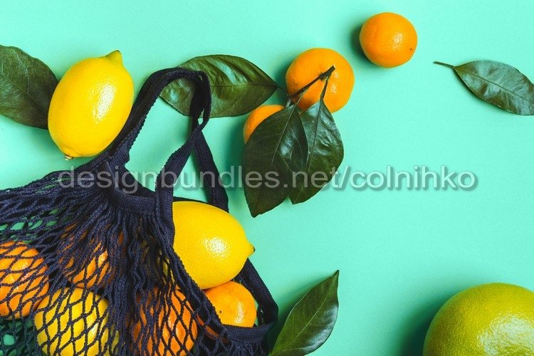 Citrus fruits in mesh textile bag example image 1