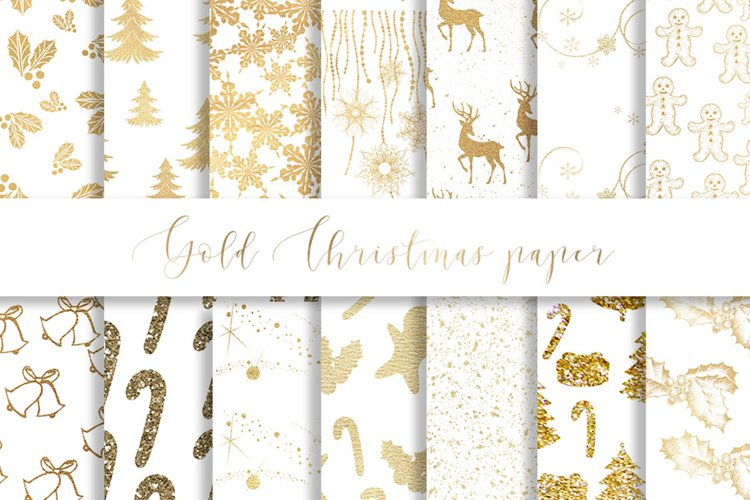 Gold Christmas digital paper, seamless pattern example image 1