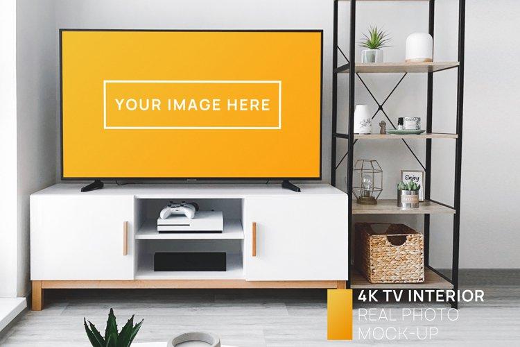 4K TV in Bright Interior Real Photo Mockup