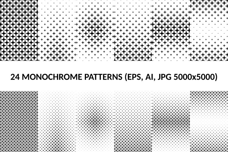 24 Star Patterns AI, EPS, JPG 5000x5000 example image 1