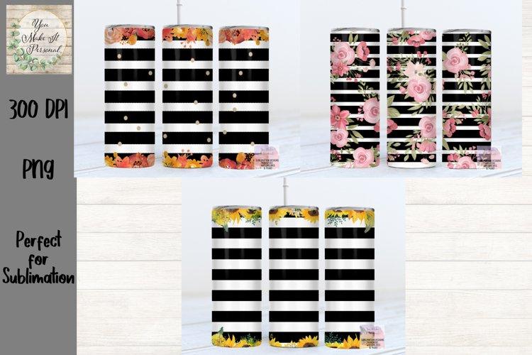 Skinny Tumbler Bundle, Floral Designs with Stripes