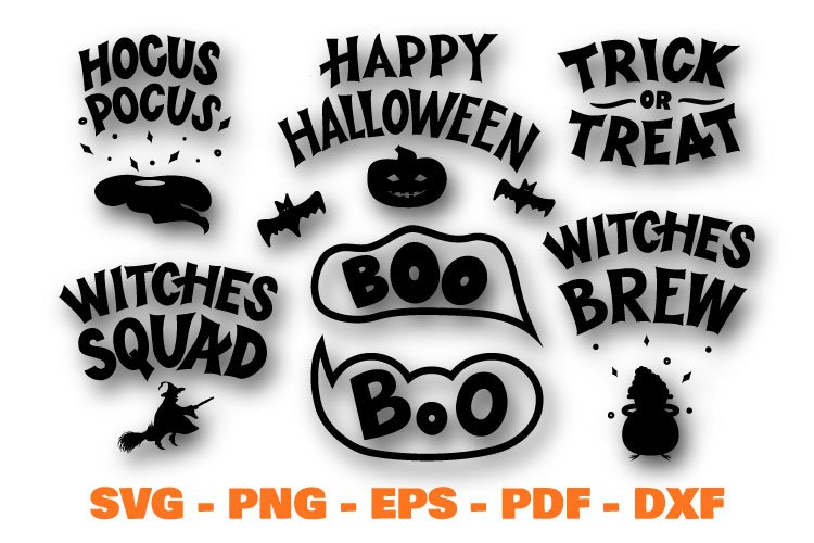 Halloween quotes bundle. Boo, Hocus pocus SVG, PNG example image 1