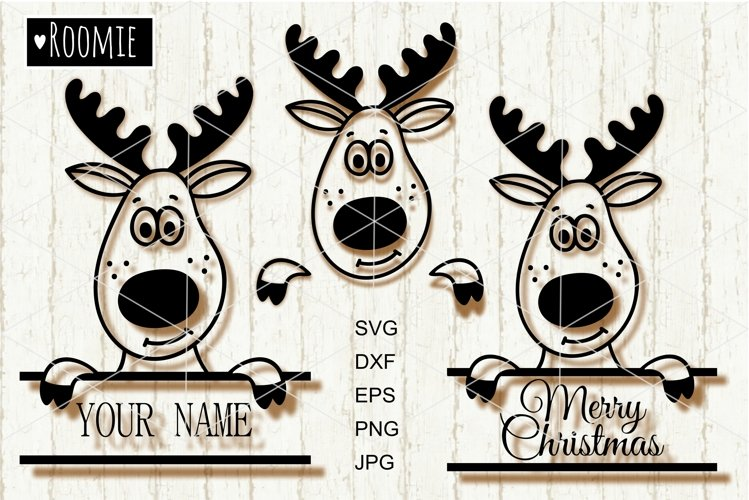 Christmas Reindeer SVG, monogram New year Winter vector
