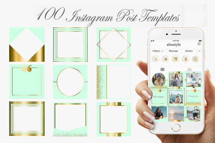 Mint Gold Instagram Post Templates, Instagram frames
