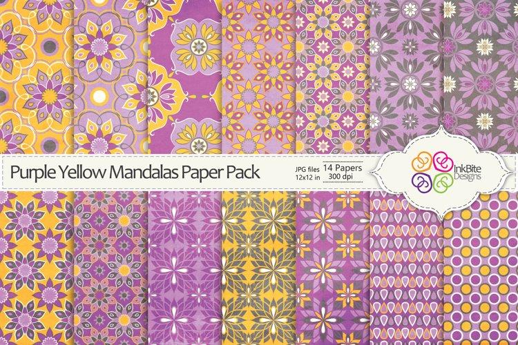 Purple Yellow Mandalas Paper Pack