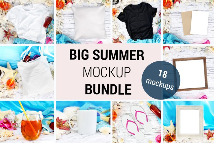 Big Summer Mockup BUNDLE - 18 mockups of mugs, tshirts, 948 example image 1