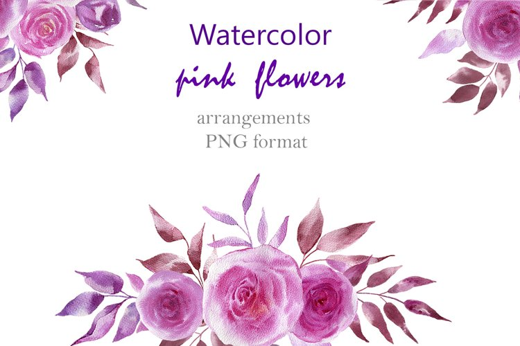 Watercolor pink flowers example image 1