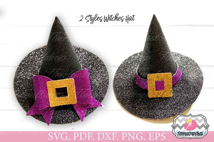3D Witches Hat Clip Template, Halloween Witch Hat Headband example image 1