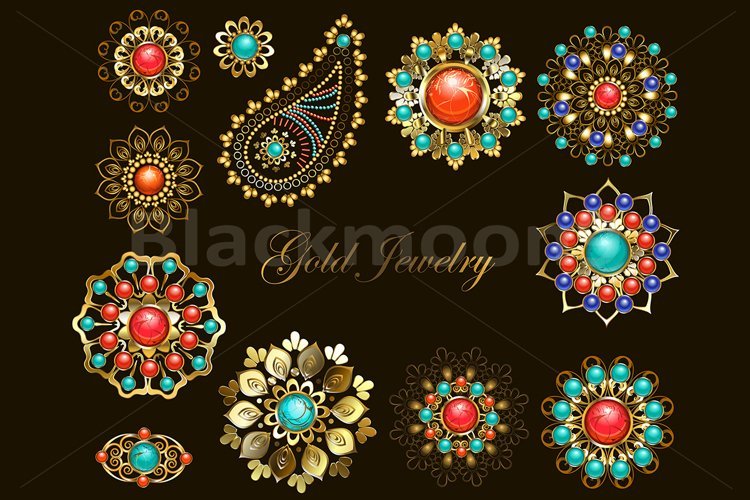 Set of Jewelry Ethnic Brooches example image 1