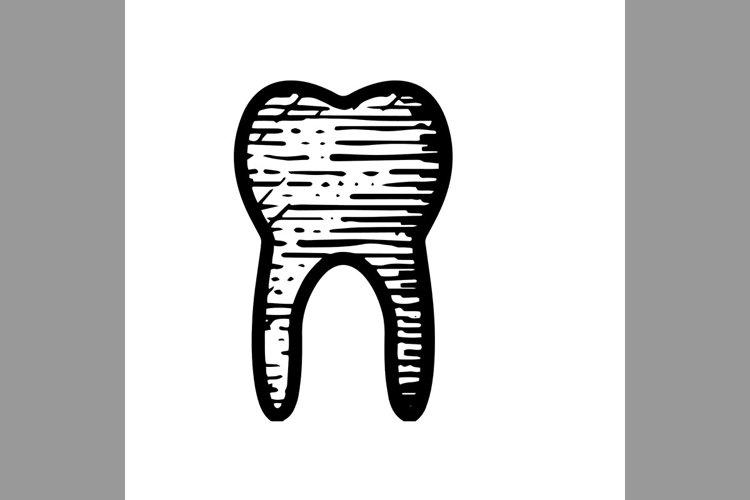 hand drawn tooth dental symbol line icon, Vector Illustratio example image 1