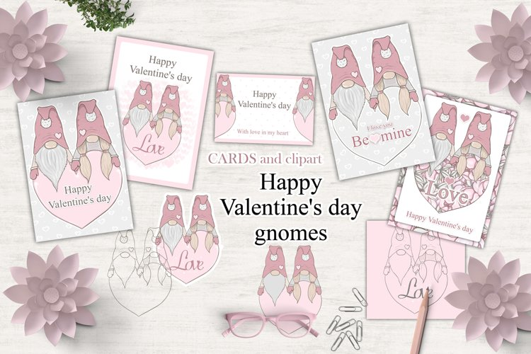 Valentine's day gnomes PNG and greeting cards, clipart example image 1