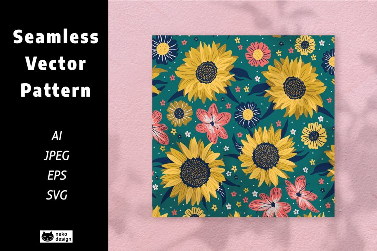 sunflower Vector Seamless Pattern example image 1