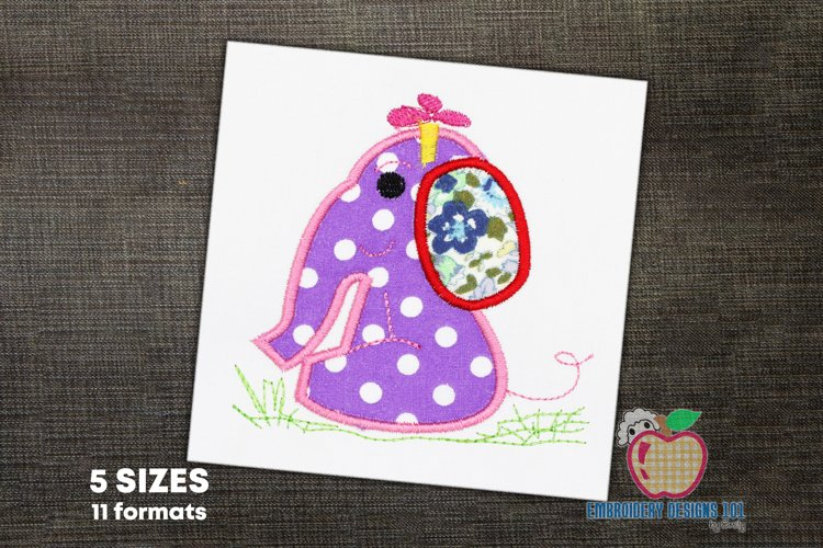 Baby Girl Elephant Embroidery Applique example image 1