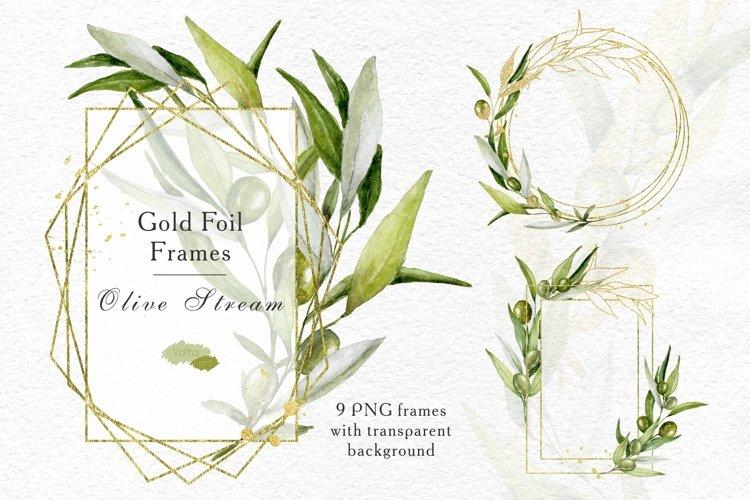 Download Watercolor Olive Gold Geometric Frames Branches Olives Png 850068 Decorations Design Bundles