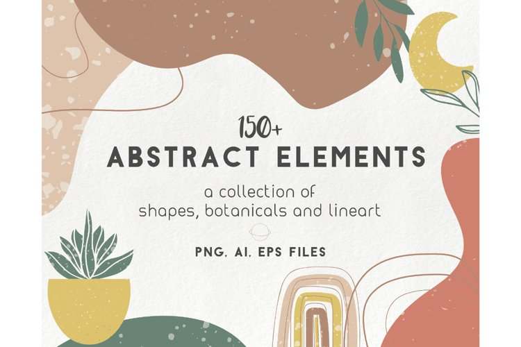 150 modern abstract design elements - floral illustrations example image 1