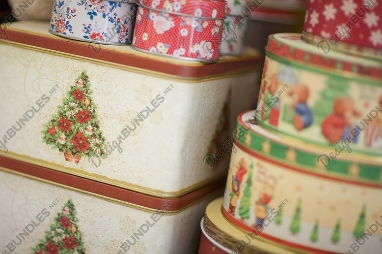 Christmas gift, square and round box. New Year decoration example image 1
