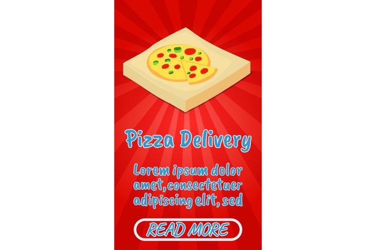 Pizza delivery concept banner, comics isometric style example image 1