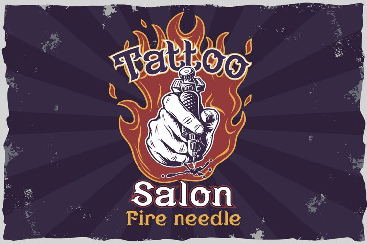 Fire needle -tattoo salon label font example 4