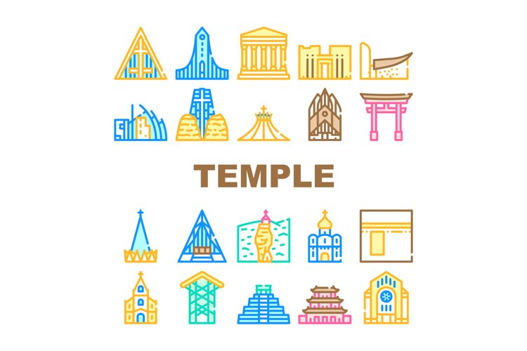 Temple Construction Collection Icons Set Vector example image 1
