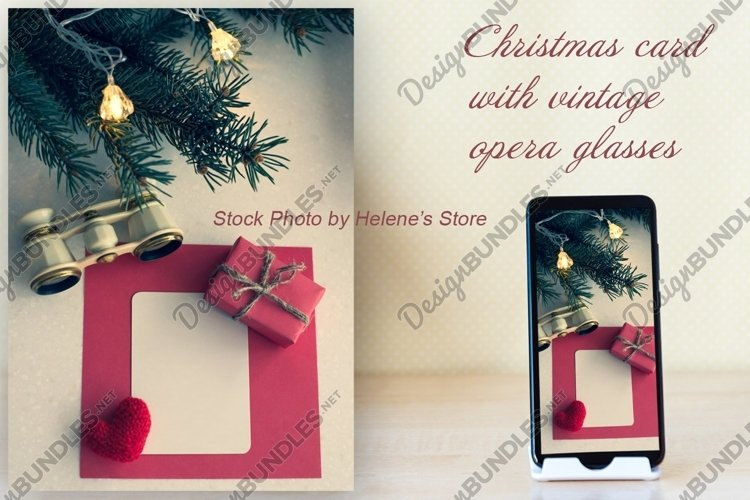 Christmas card with a vintage opera glasses and copyspace example image 1