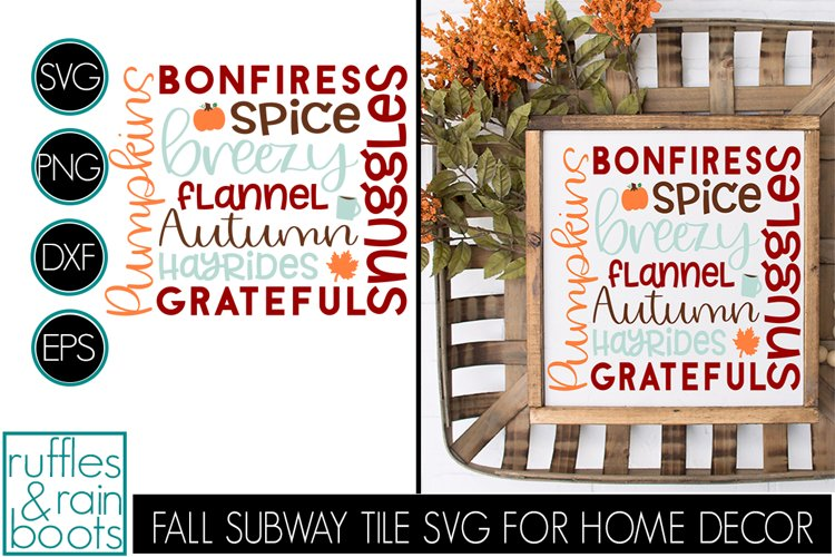 Fall Subway Tile SVG with Pumpkin Coffee and Leaf Designs example image 1