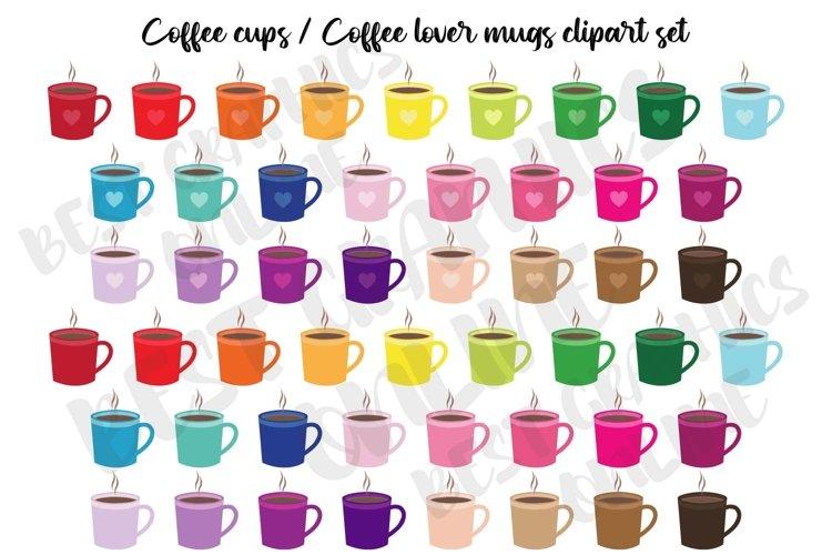 Coffee cups clipart Coffee lover mug stickers Coffee time