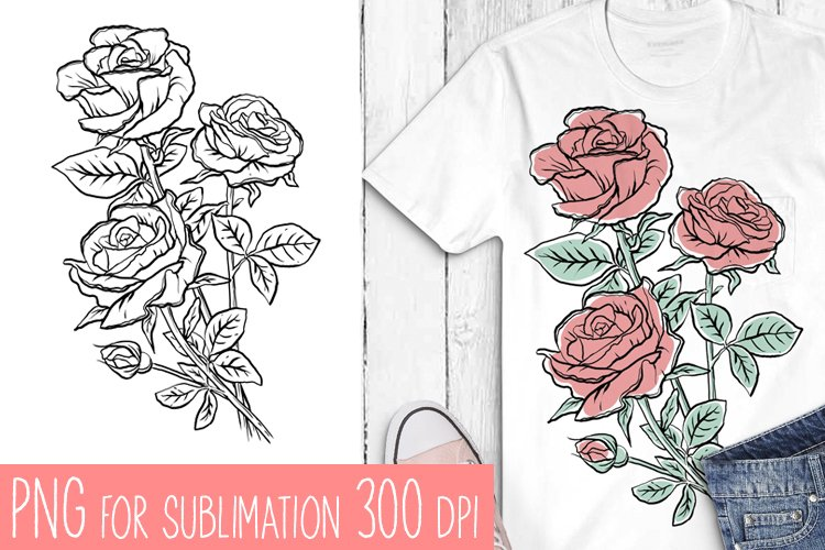 Flowers sublimation, hand drawn roses PNG example image 1